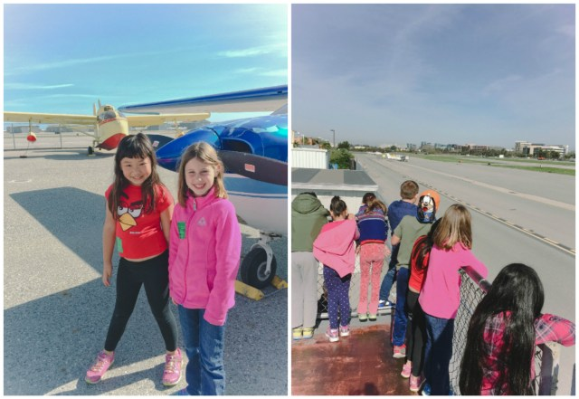 Left: Bridgette with one of her best friends Helen | Right: The kids got to go on Observation Deck to view planes that were taking off and landing