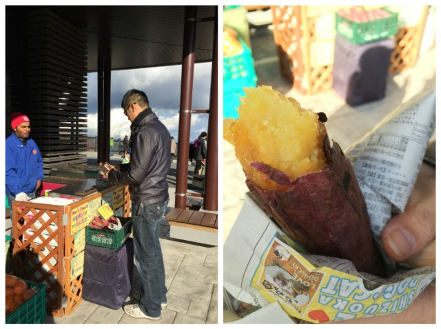 We couldn't resist...sweet, hot Japanese yams on a super cold day!