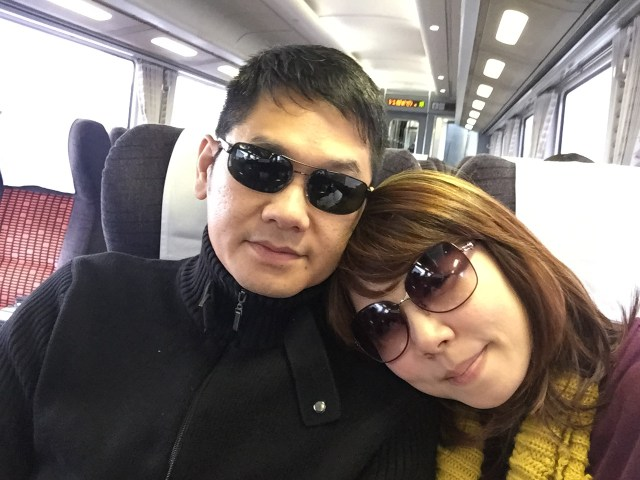 Alan and I relaxing in the bullet train ride