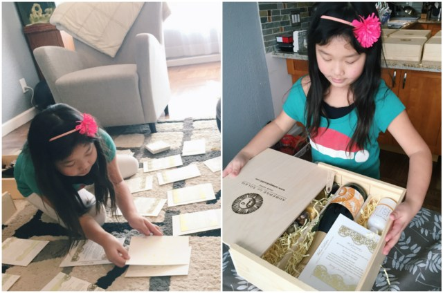 Sometimes, she gets recruited to help mommy on wedding work, where she learns all about organization and presentation. :)