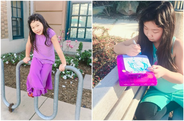 To stay active, we try to do a lot of walking and park days. Bridgette almost always brings a sketch pad along to take sketch breaks.