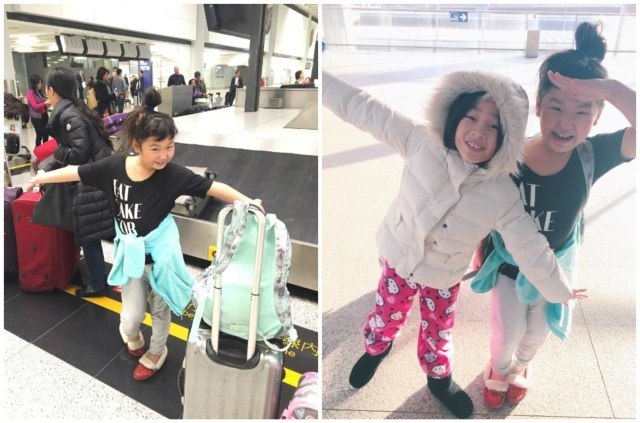 """School was canceled due to """"severe cold weather"""", so Brianne surprised us by picking us up at the airport! As you can tell from Bridgette's attire, we have a totally different climate tolerance from the Bay Area! :)"""