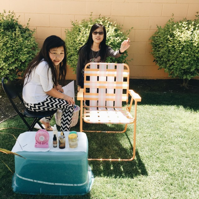 Bridgette and Karina set up their own spa in the backyard, and guess who was their lucky first customer? :)