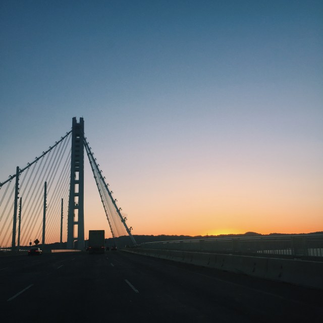 Beautiful sunrise seen as we crossed the Bay Bridge