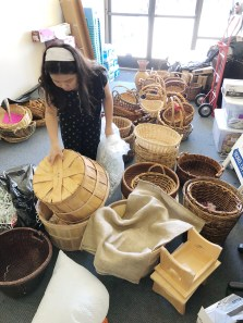 Prepping all the baskets for the Easter Jerusalem Marketplace
