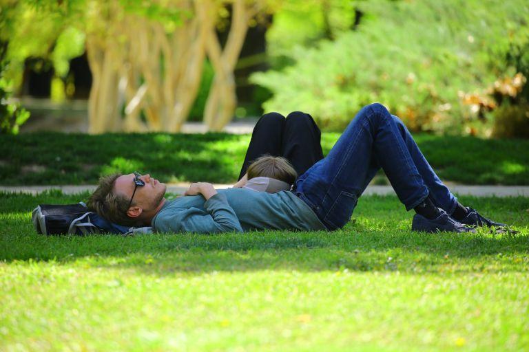 man wearing blue long sleeve shirt lying on ground during daytime