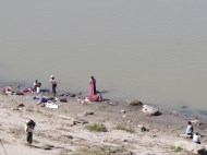 Laundry in the Irrawaddy River, Bagan, Burma