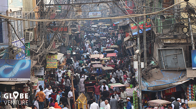 Straßenbild von oben in Dehli