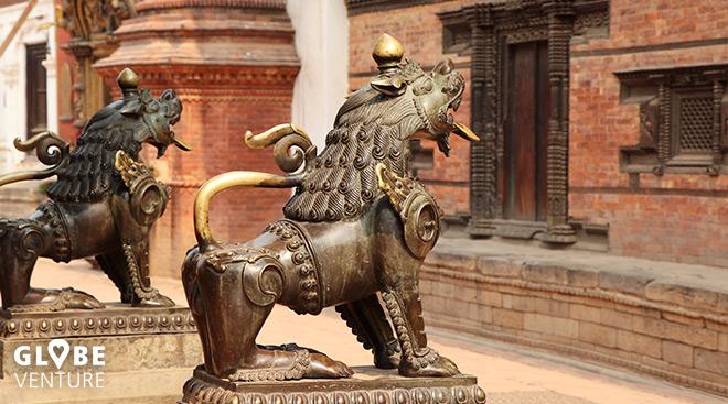 Bakthapur, Nepal, Kathmandu, Wächterlöwen