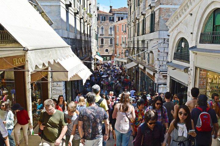 Summer crowds in Venice, Italy.