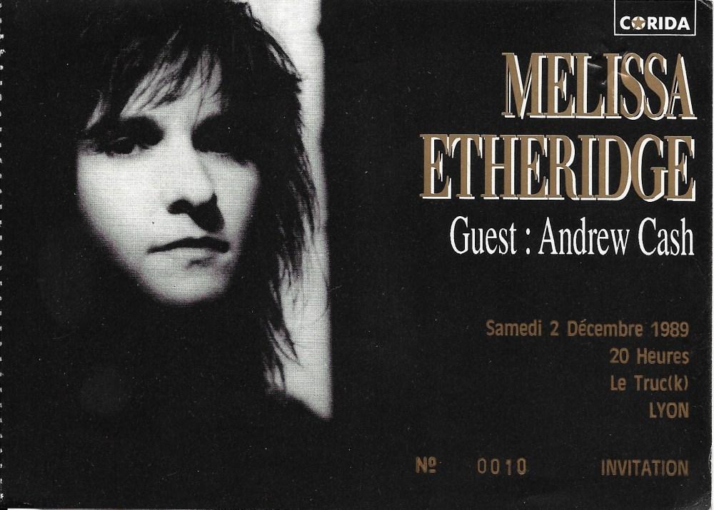 Meleissa Etheridge, ticket du concert de Lyon en 89