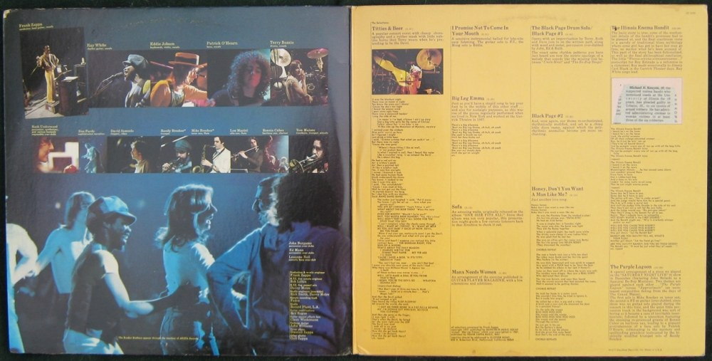 Zappa in New York pochette intérieure