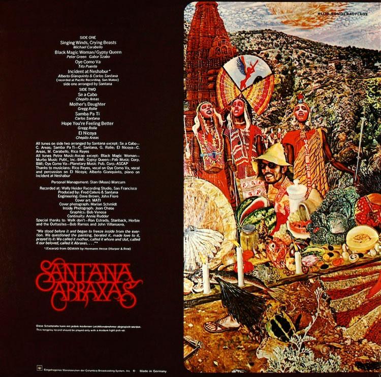 Carlos Santana - Abraxas, back cover