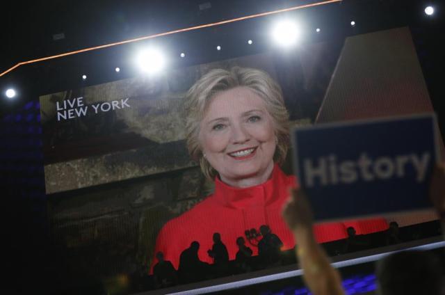 Hillary Clinton addresses via a live video feed from New York.  REUTERS/Mark Kauzlarich