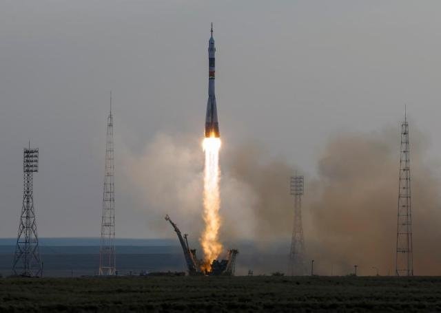 The Soyuz MS spacecraft carrying the crew of Kate Rubins of the U.S., Anatoly Ivanishin of Russia and Takuya Onishi of Japan blasts off to the International Space Station (ISS) from the launchpad at the Baikonur cosmodrome, Kazakhstan, July 7, 2016. REUTERS/Shamil Zhumatov