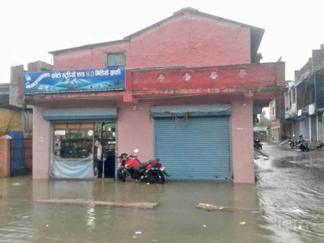 Several shops were inundated