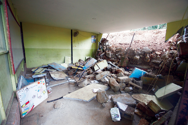 The prefab classroom that was destroyed.
