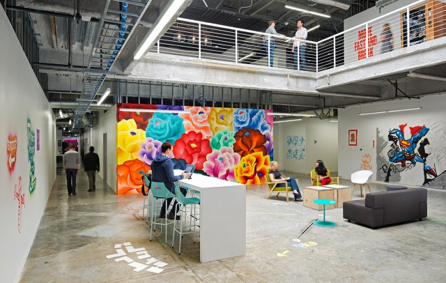"""Facebook's """"classic"""" campus, which features work by local artists on its walls"""