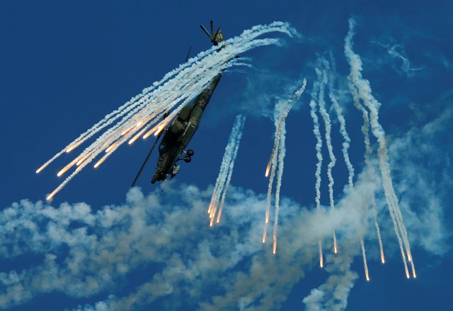 A Mil Mi-28N Night Hunter military helicopter performs in Dubrovichi outside Ryazan.