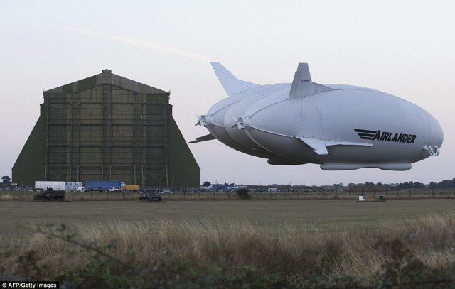 After a successful first flight on Wednesday, the aircraft can be seen preparing to land back at the airfield in Bedford