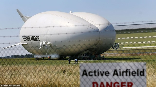 Preparations are made for the maiden flight of the Airlander 10, the largest aircraft in the world, at Cardington airfield