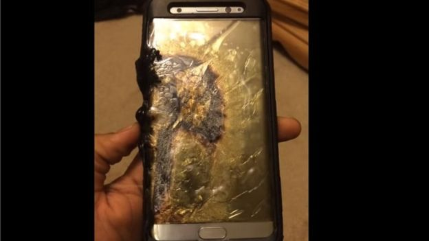 A Galaxy Note 7 reportedly caught fire shortly after its charger was unplugged