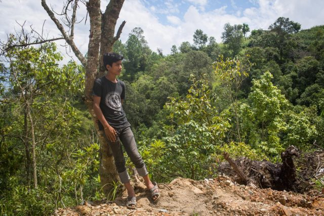 Sunil Sundas, a school student from Timal, Kavre, hope that the Bodhichitta trees that is growing in his family land will feed his family in future.
