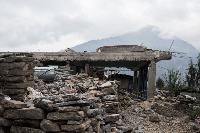 The ruins of a lodge in the hilltop village of Thulo Shyaphru, where trekkers used to stop on their way to the mountain lakes of Gosaikunda