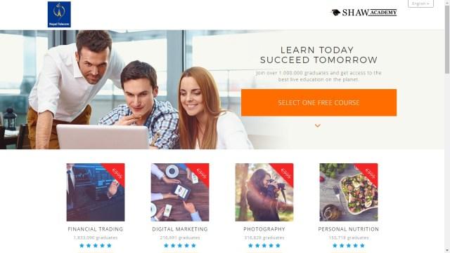 An Screenshot of Shaw Academy website