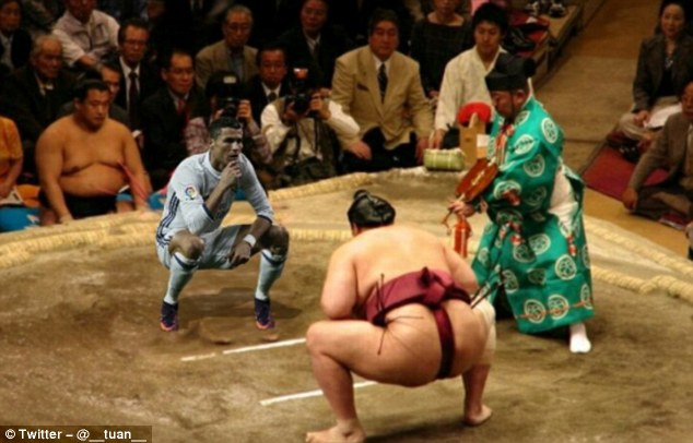 Ronaldo changes his profession from football player to sumo wrestler in one meme
