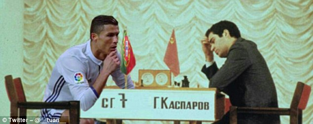 The Portuguese captain proves his mental strength against a Soviet opponent at chess