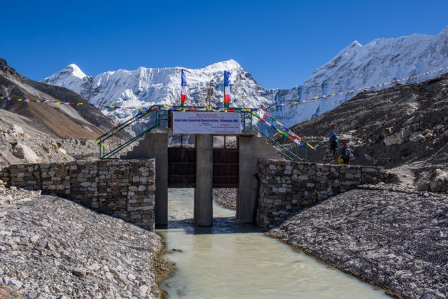 The outlet channel built by the Nepal Army in Imja glacial lake.