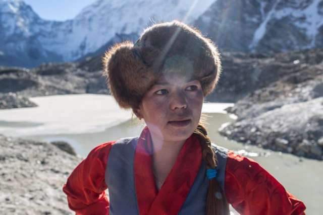 """Kalma Lama, from Lukla town, runs a shop in Dengboche. She is happy that the lake has been drained. She has already experienced a small glacial lake outburst flood from Lotse glacier lake last summer. """"Although there was no loss from the flood, the Imja River is terrifying,"""" she said."""