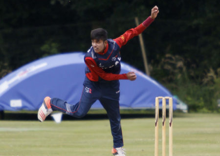 Youngster Sandeep Lamichhane bowls during the match against Club Cricket Conference on Friday July 15, 2016. Photo: cricketingnepal.com