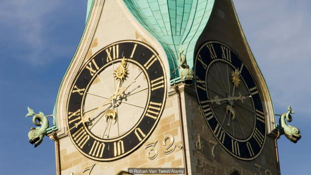 The clock tower of the Fraumunster Church. ( Photo by: Rohan Van Twest/Alamy)