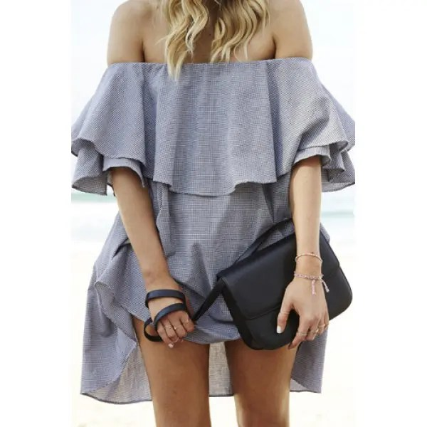 Sexy Off-The-Shoulder Half Sleeve Solid Color Flounced Women's Dress