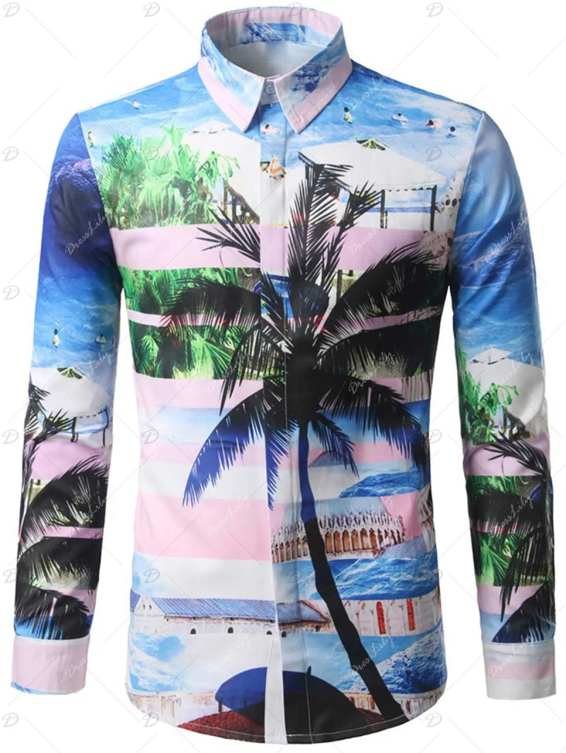 Hidden Button Coconut Tree Printed Shirt - COLORMIX 2XL