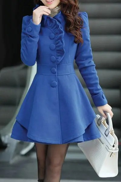 Stylish Stand-Up Collar Long Sleeve Flounced Solid Color Women's Coat - CADETBLUE M