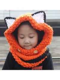 dresslily Cute Fox Ear Shape and Buttons Embellished Kids' Knitted Hooded Scarf