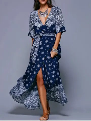 Firstgrabber Slit Print Long Flowing Wrap Plunge Dress