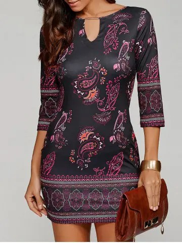 Firstgrabber Paisley Keyhole Neck Mini Dress with Sleeves