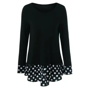 Polka Dot Patchwork Flounced T Shirt