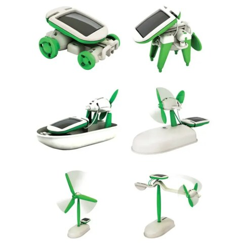 Solar Powered 6-in-1 Educational Puzzle Assembly Toy Kit - GREEN/WHITE