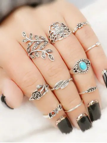Firstgrabber 10 Pcs  Valentine's Day Flower Leaf Series Rings