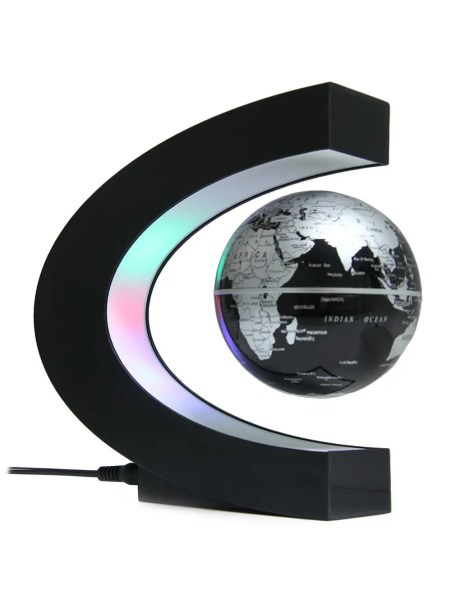 2018 C Shape Magnetic Levitation Floating Globe World Map with LED     C Shape Magnetic Levitation Floating Globe World Map with LED Light   BLACK  EU