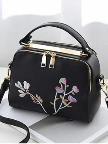 Faux Leather Casual Flower Crossbody Bag