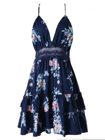 dresslily Printed Halter Lace Panel A Line Dress
