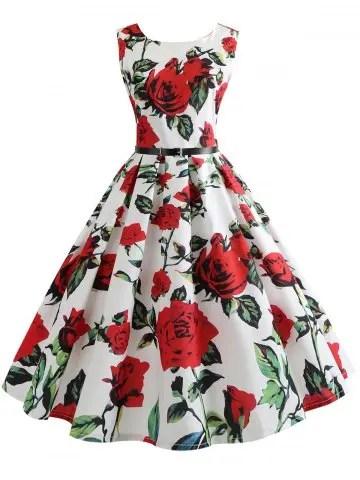 Belted Vintage Sleeveless Floral Print Dress