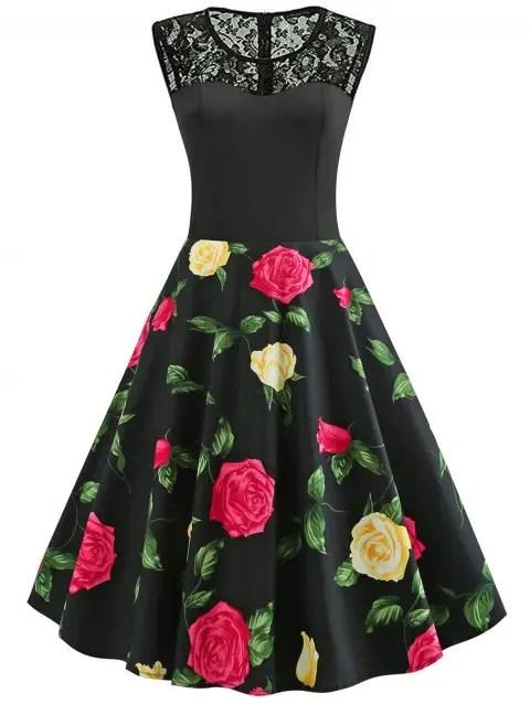 Vintage Lace Insert Floral Print Dress - BLACK M