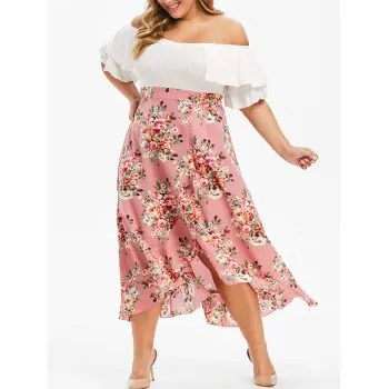 Plus Size Off Shoulder Floral Print Maxi Dress